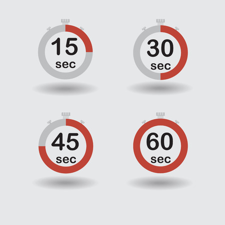 sec: Time, clock, stopwatch, timer progress circles set 15 30 45 60 sec red vector illustration