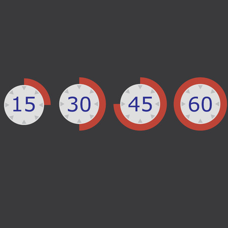 red stopwatch Flat icon set 15 30 45 60 vector illustration