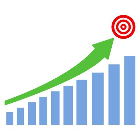 graph up blue bar green arrow with target vector illustration Ilustração