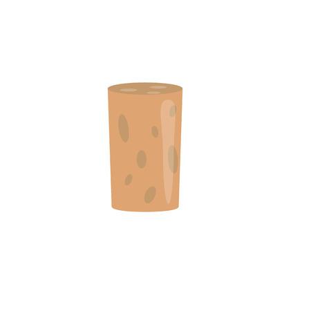 uncork: Brown cork plug. Vector illustration