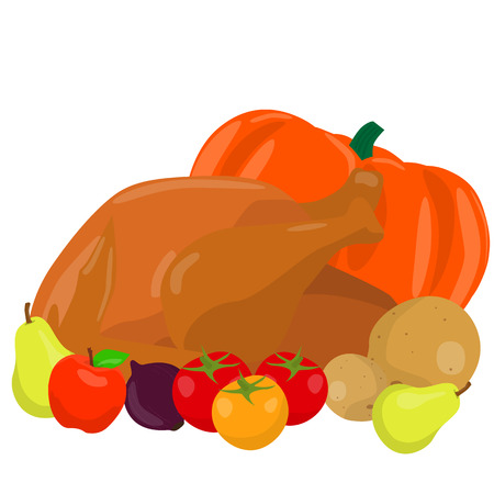 cooked: Cooked thanksgiving turkey with vegetables. Vector illustration.