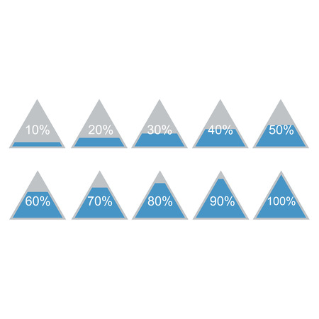 80 90: Piramide triangle percentage chart diagram of growth. 10, 20, 30, 40, 50, 60, 70, 80, 90, 100 %. Vector illustration