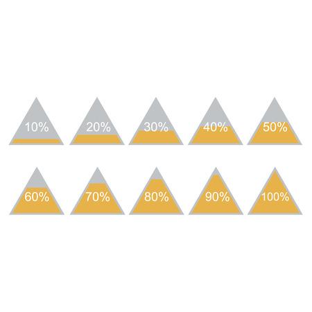 80 90: Piramide triangle percentage chart diagram of growth yellow. 10, 20, 30, 40, 50, 60, 70, 80, 90, 100 %. Vector illustration Illustration