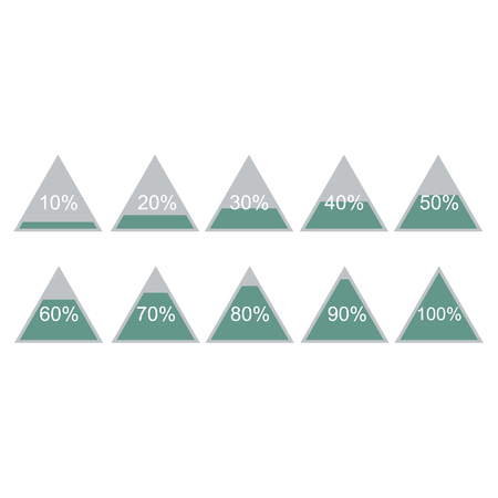 Piramide triangle percentage chart diagram of growth green. 10, 20, 30, 40, 50, 60, 70, 80, 90, 100 %. Vector illustration Stock Illustratie