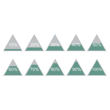 Piramide triangle percentage chart diagram of growth green. 10, 20, 30, 40, 50, 60, 70, 80, 90, 100 %. Vector illustration Vettoriali