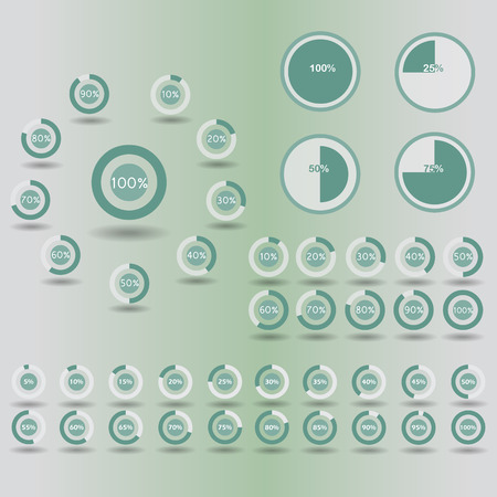 30 to 35: Business infographic icons template pie graph circle percentage green chart 5 10 15 20 25 30 35 40 45 50 55 60 65 70 75 80 85 90 95 100 % set illustration round vector