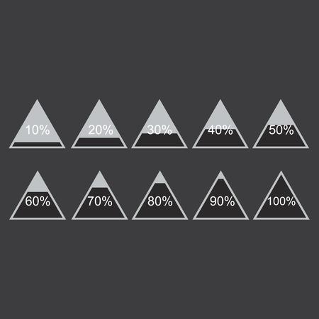 80 90: Piramide triangle percentage chart diagram of growth black. 10, 20, 30, 40, 50, 60, 70, 80, 90, 100 %. Vector illustration Illustration