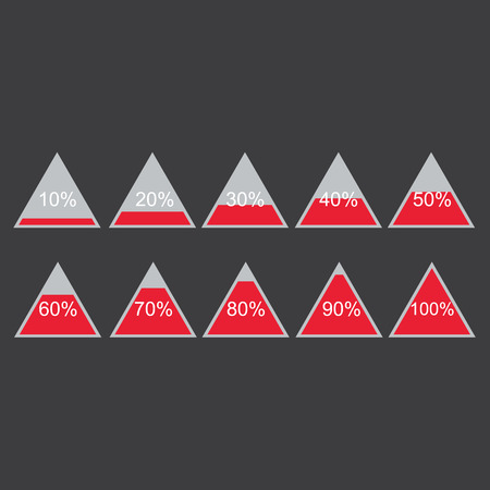 Piramide triangle percentage chart diagram of growth red. 10, 20, 30, 40, 50, 60, 70, 80, 90, 100 %. Vector illustration