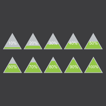 Piramide triangle percentage chart diagram of growth green. 10, 20, 30, 40, 50, 60, 70, 80, 90, 100 %. Vector illustration Illustration