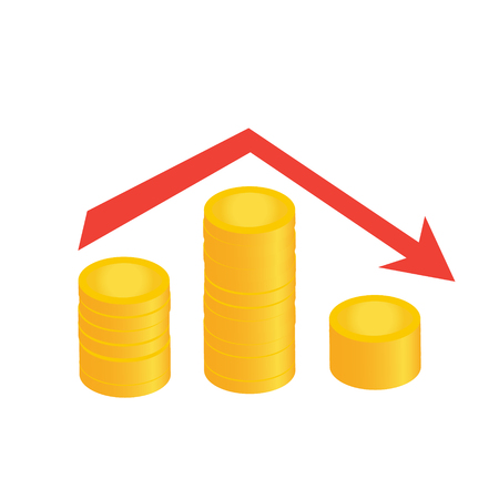 graph down red flat with coins chart vector illustration