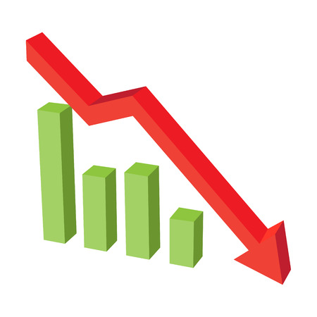 graph down red volume with column grapghs vector illustration