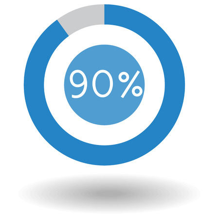 Icon business colorful pie chart circle graph 90 % blue vector illustration