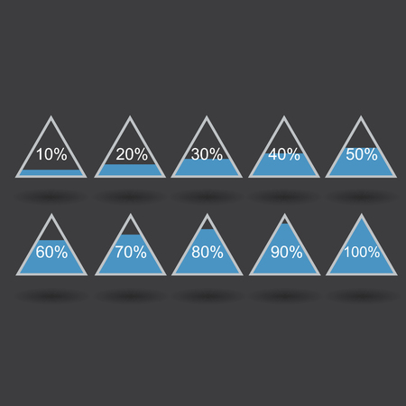 80 90: Piramide triangle percentage chart diagram of growth blue. 10, 20, 30, 40, 50, 60, 70, 80, 90, 100 %. Vector illustration