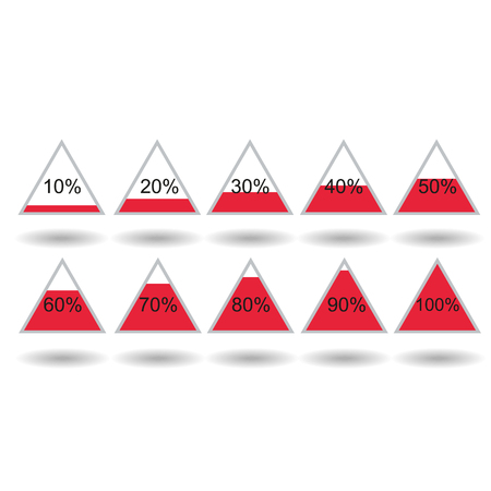 80 90: Piramide triangle percentage chart diagram of growth red. 10, 20, 30, 40, 50, 60, 70, 80, 90, 100 %. Vector illustration