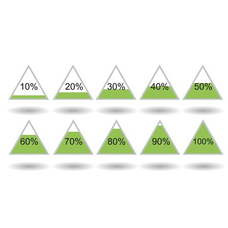 80 90: Piramide triangle percentage chart diagram of growth green. 10, 20, 30, 40, 50, 60, 70, 80, 90, 100 %. Vector illustration Illustration