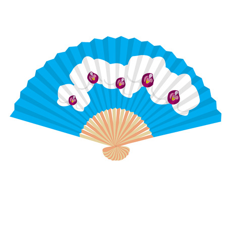 folding: Traditional Folding Hand Fan with a flower orchidea.