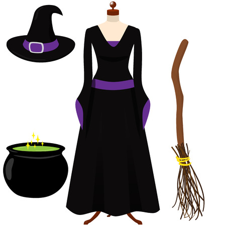 Halloween witch costume. Black and purple gothic dress, black hat with purple ribbon and buckle. Broom. Cauldron with green potion.