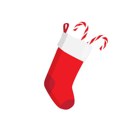 white fur: Red Christmas stocking with candy isolated on white. Decorative red sock with white fur and patches. illustration for christmas, new year, decoration, winter holiday, silvester, tradition, etc