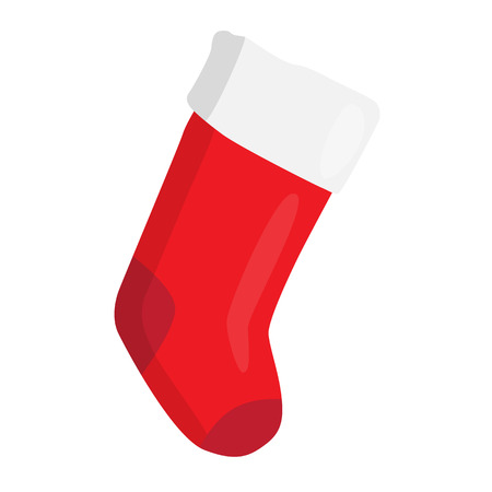 Empty red Christmas stocking isolated on white. Decorative red sock with white fur and patches. illustration for christmas, new year, decoration, winter holiday, silvester, tradition, etc