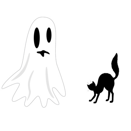 hissing: illustration Ghost and scared hissing cat silhouette. Art for Halloween. Illustration