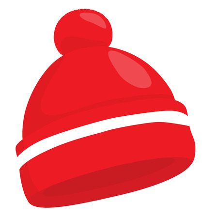 ski wear: Red woolen knitted hat isolated on white