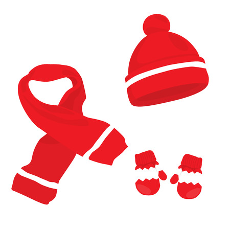 winter hat: Red knitted scarf, hat and mittens on white. Winter clothes set.