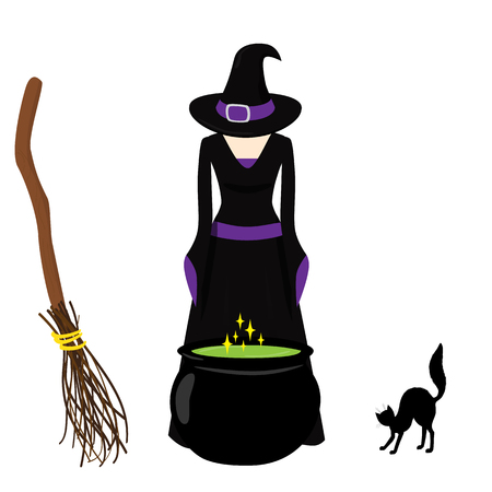 hissing: Witch brews a potion in cauldron. Broom, hissing cat. Art for Halloween Illustration
