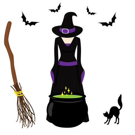 hissing: Witch brews a potion in cauldron. Broom, hissing cat, bats. Art for Halloween Illustration