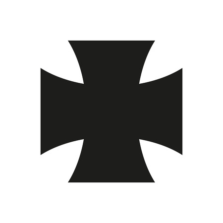 Iron Cross Icon black silhouette. Ancient Christian sign. Vector illustration. 矢量图像