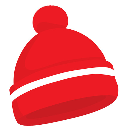 woolen: Red woolen hat isolated on white. Vector illustration