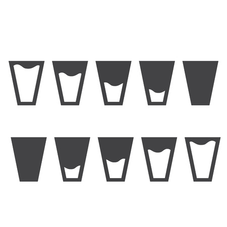 purified: Filling black glasses of water set. Flai icons set. Vector illustration