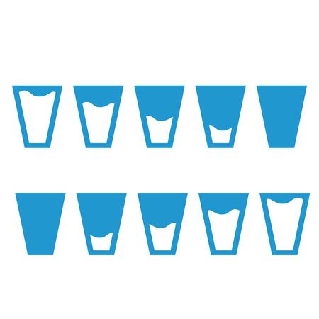 filling: Filling blue glasses of water set. Flai icons set. Vector illustration