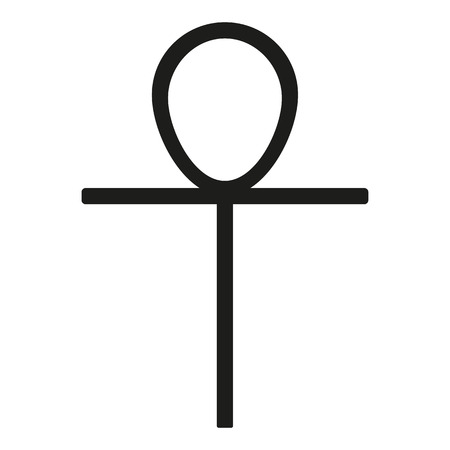 pagan cross: Ankh Icon black silhouette. Ancient Egyptian cross sign. Raster illustration. Stock Photo