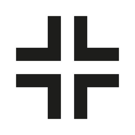 gamma: Gamma Cross Icon black silhouette. Ancient Christian sign. Raster illustration.