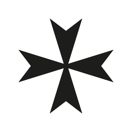 orthodoxy: Maltese Cross Icon black silhouette. Ancient Christian sign. Raster illustration.