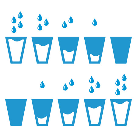 filling: Filling blue glasses of water set. Water drops. Flai icons set. Raster illustration Stock Photo