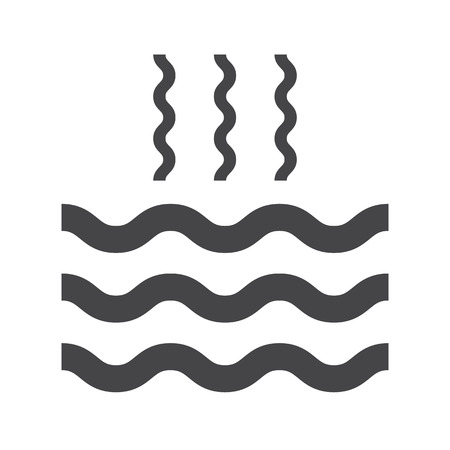 evaporation: Abstract waves of water and evaporation flat icon. Black. Raster illustration Stock Photo