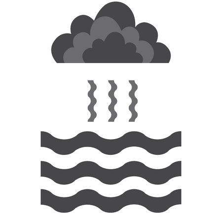 evaporation: Abstract waves of water and evaporation with cloud flat icon. Black . Vector illustration