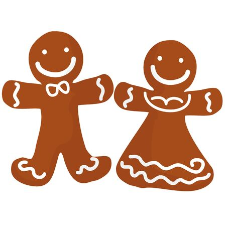 christmas cookie: Gingerbread man and women decorated white icing. Holiday Christmas cookie in shape of human