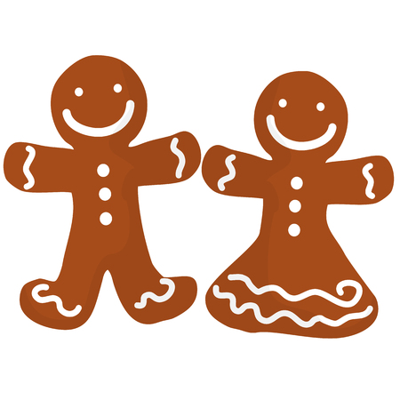 Gingerbread man and women decorated white icing. Holiday Christmas cookie in shape of human
