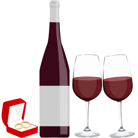 Romantic engagement dinner red wine set vector illustration