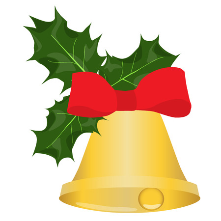 golden christmas bell with holly and red bow isolated vector illustration