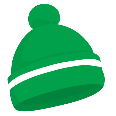 Green woolen knitted hat isolated vector illustration Illustration