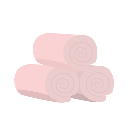 Pink domestic bath beach spa towel stack isolated vector illustration