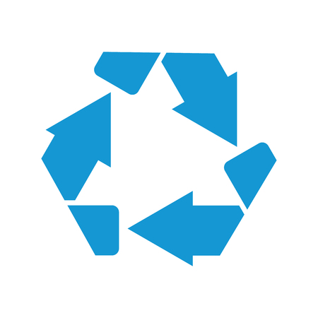 Recycle symbol or sign of conservation blue icon isolated on white background. Vector symbol on the packaging.