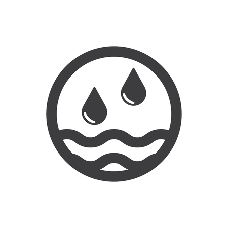 Water drops and waves icon. Two drops. Abstract symbol of drops. Black. Vector illustration Illustration