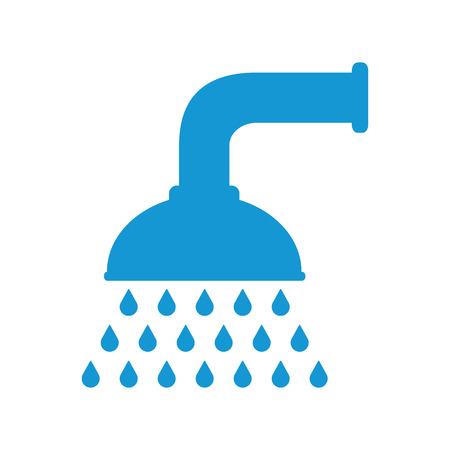 douche: Shower head in bathroom with water drops flowing. Blue. Vector illustration. Flat design style