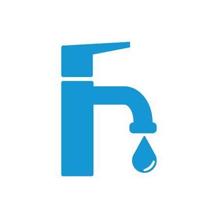 stopcock: Modern Water Faucet with drop icon. Blue silhouette. Vector illustration.