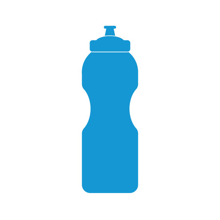 Blue Plastic bottle silhouette with water. Small sport bottle of water. Vector illustration Illustration