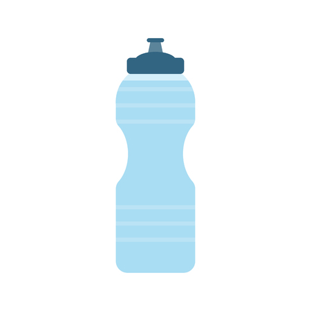 Plastic sport bottle with water. Small bottle of water. Vector illustration